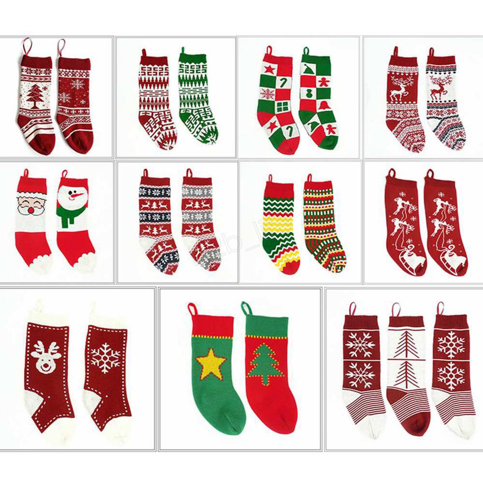 Kids Knitted Christmas bags Stocking Hanging socks gift bags wool Xmas Tree socks decorations Jacquard candy gift socks LJJA2849