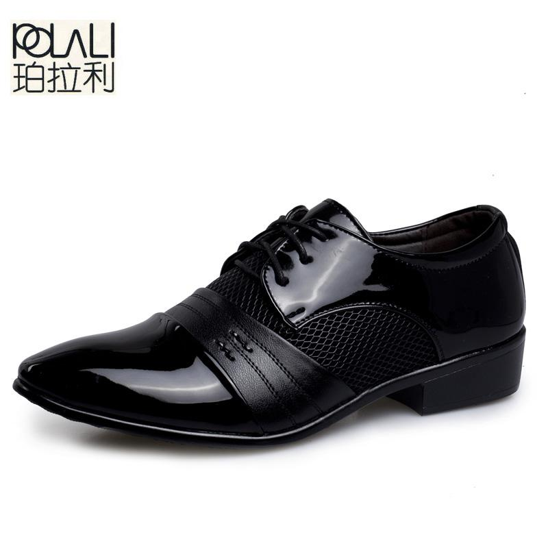 Sensible Brand Patent Leather Business Mens Dress Shoes Pointed Toe Oxford Shoes For Men Breathable Mesh Formal Office Flats Eu 38-48 Shoes Formal Shoes