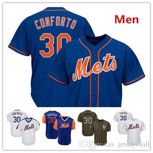 cheaper 37d4d b67ff Mens New York Mets Baseball Jerseys 30 Michael Conforto Jersey Blue White  Green Salute Players Weekend