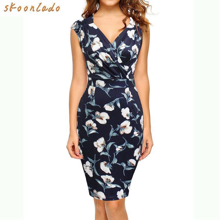 c9e6dc1a92541 Classy Office Lady Women Dress Cotton Summer Femaldress Elegant Party Fancy  Ladies Dresses Clothing Summer Beauty Dress Slimming J190430