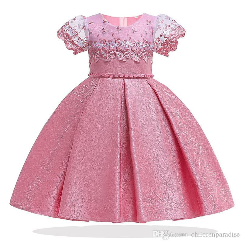 2019 Lace Kids Tutu Birthday Princess Party Dress for Girls Infant Flower Children Bridesmaid Elegant Dress for Girls Clothes