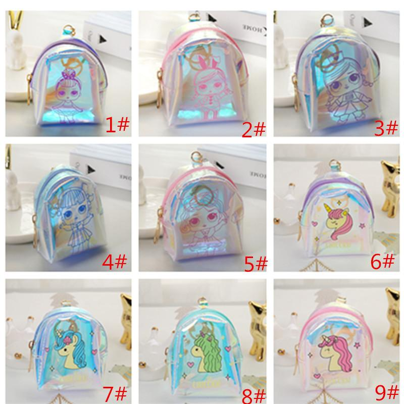 Laser Surprise Girls Unicorn Coin Purse PVC Cartoon Mini borse di stoccaggio Zipper portafoglio auricolare Key Case Bag Little Coin Pocket portafogli