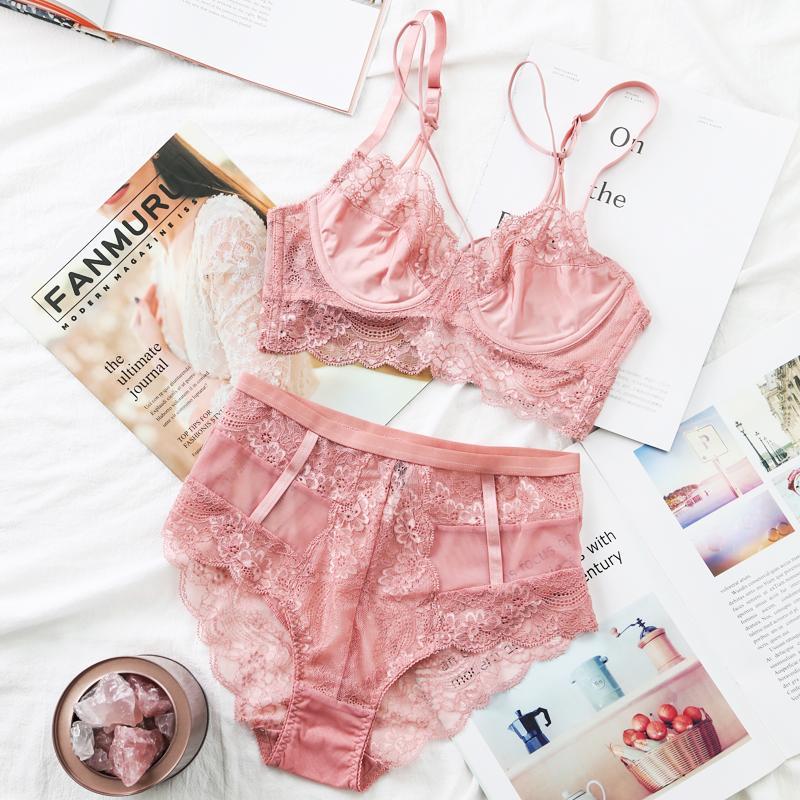 ef5001c2d2bca 2019 Wholesale Classic Bandage Pink Bra Set Lingerie Push Up Brassiere Lace  Underwear Set Sexy High Waist Panties For Women 2018 From Liuyangfuzhuang