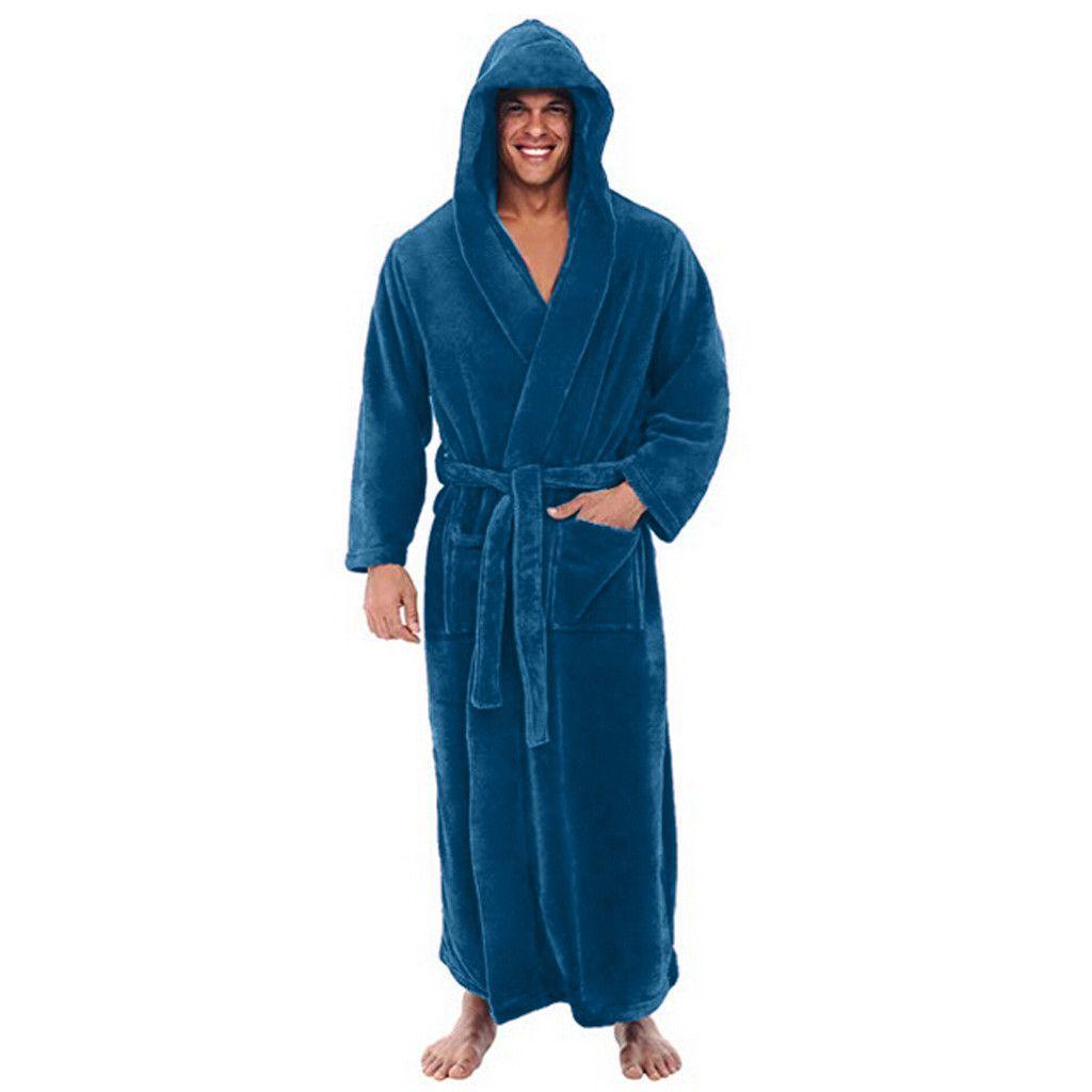 832cbe755d 2019 Winter Warm Bathrobe Night Gown Men S Plush Lengthened Shawl ...