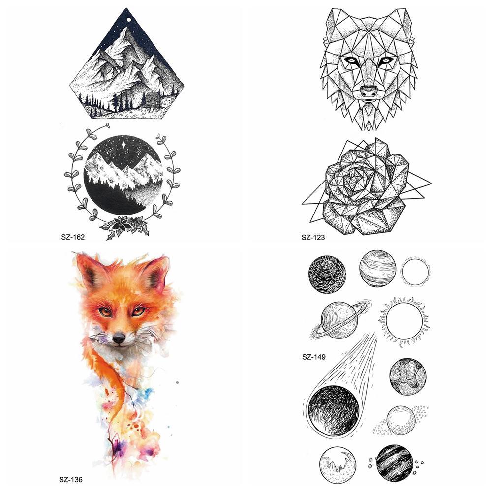 Women Small Planet Temporary Tattoo Sticker Arm Fake Tatoos Diamond Timber Makeup Tip Waterproof Tattoo Men Geometric Wolf Flora
