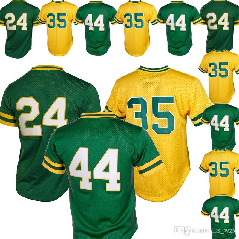 more photos cbccc 1cdda The New Baseball Jersey Oakland Athletics Jersey 24 Rickey Henderson 44  Reggie Jackson 35 Rickey Henderson Embroidery logo Top Quality