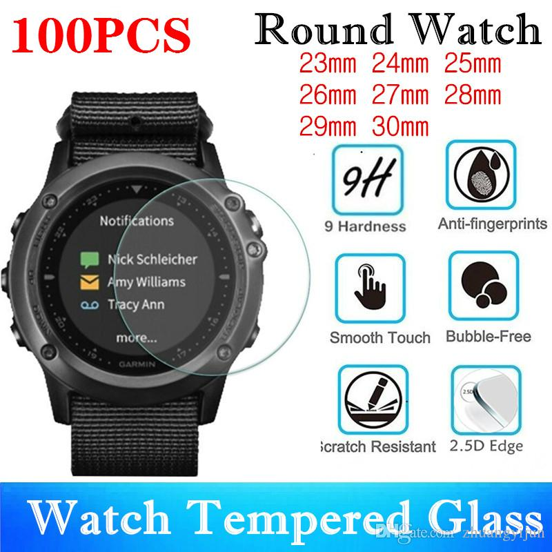 100pcs Universal Round Watch Tempered Glass Diameter 23mm 24mm 25mm 26mm 27mm 28mm 29mm Screen Protector Protective Film 4 orders