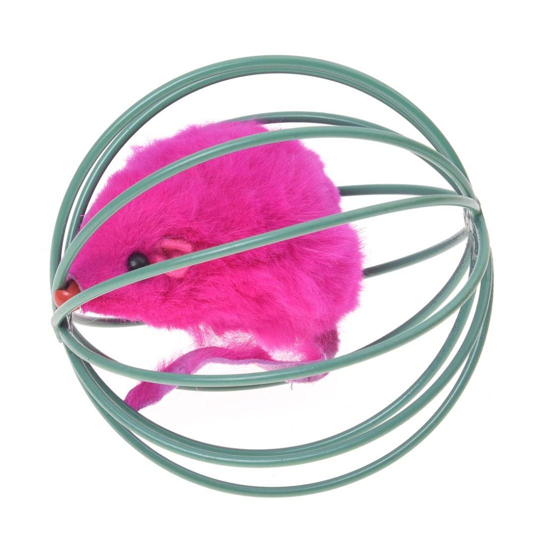 New Pet Cat Kitten Funny Playing Toy Teal Fake Mouse Mice Rat in Cage Ball