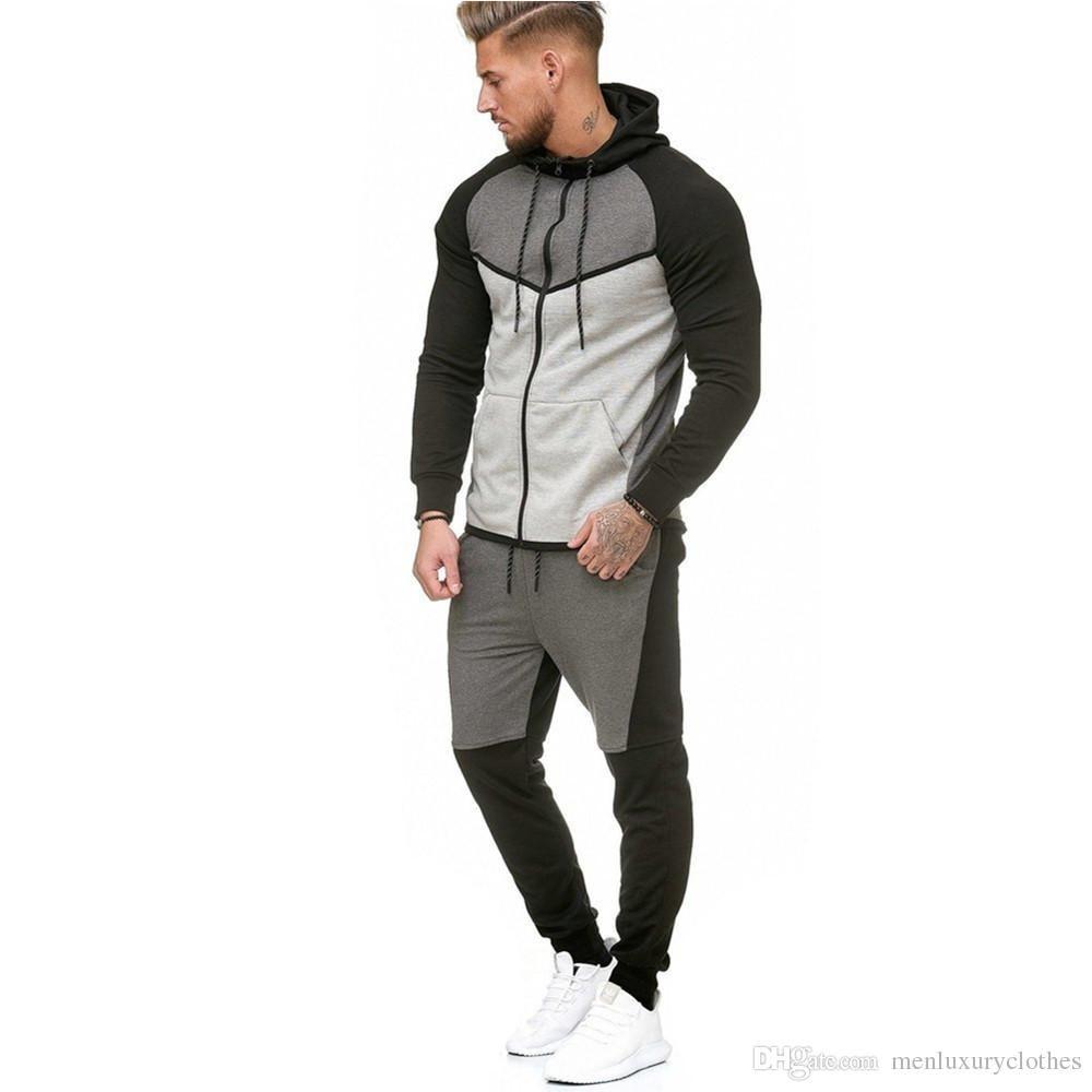 enjoy lowest price genuine shoes best prices designer jogging suits men 2018 Luxury Tracksuits Fleece Sweatshirts  Hoodies Pants 2pcs Clothing Sets Sports Sweatsuits