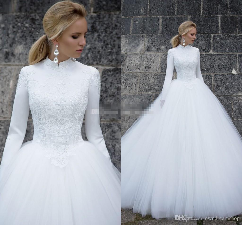 5b6b5df61 Mangas largas Vestidos de novia musulmanes 2019 Cuello alto elegante Mangas  largas Encaje Satén Tulle Longitud del piso Vestido de bola Vestidos de ...