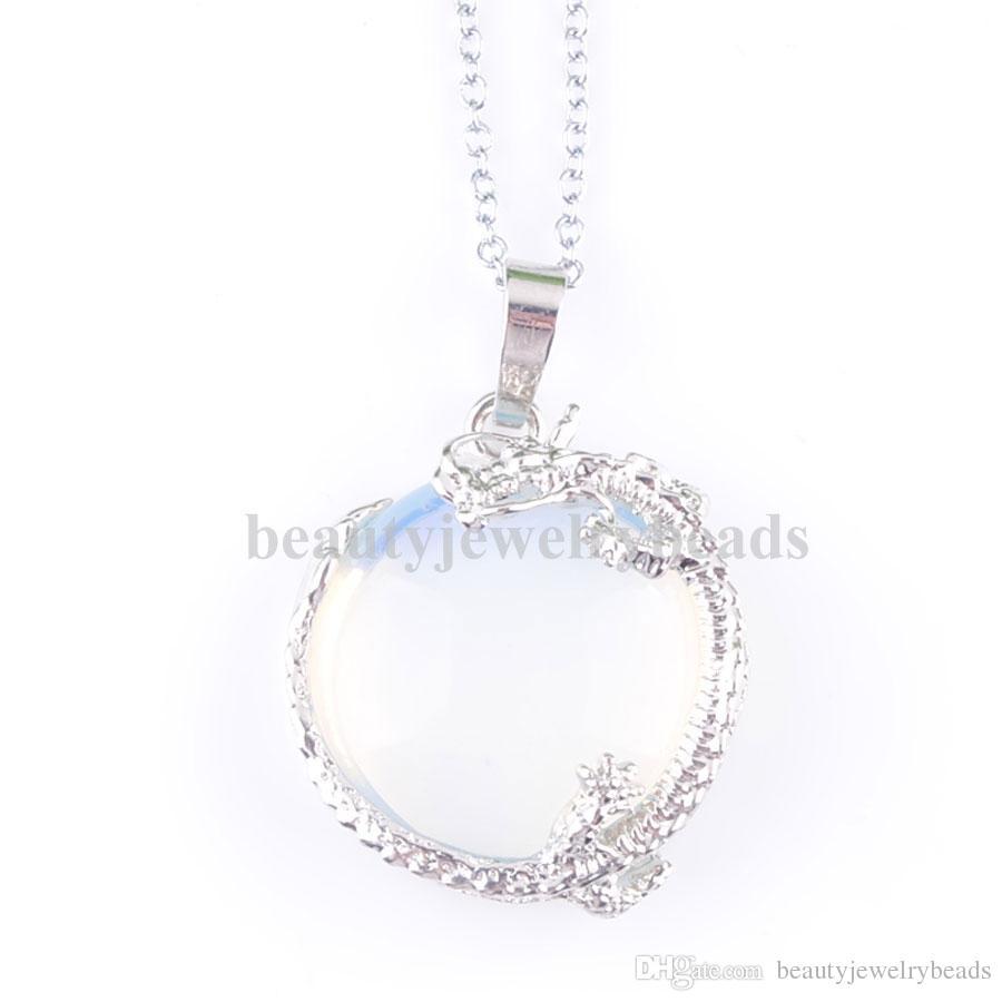7f735b3896b6 Compre Colgante Collar Natural Gema Piedra Opal Perlas Redondas Planas  Accesorios De Dragón Joyería De Las Mujeres 18 Pulgadas Collar De Cadena  DN3160 A ...