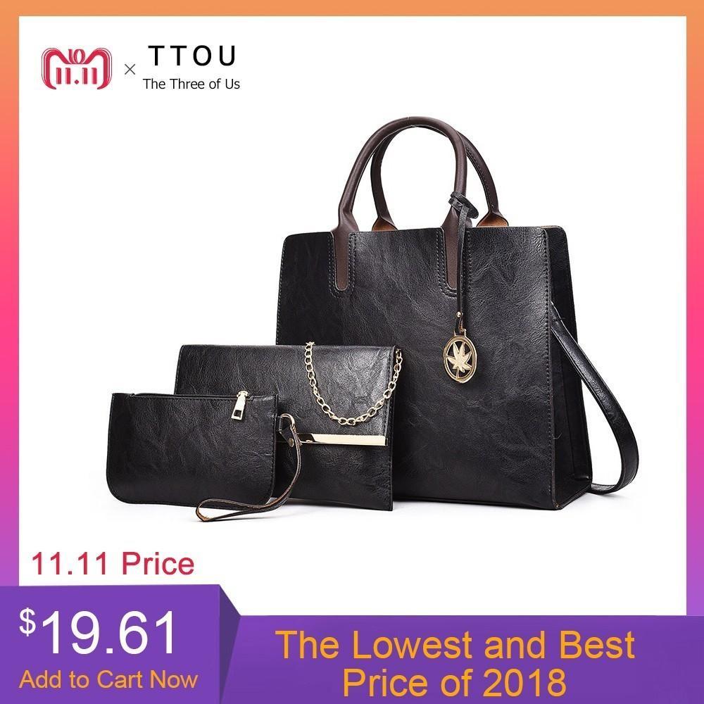 182eae8e968e 2019 Fashion TTOU Vintage PU Leather Bag Women Fashion Shoulder Bag Ladies  Large Capacity Crossbody Bag Female 3 Sets Handbag Small Purse