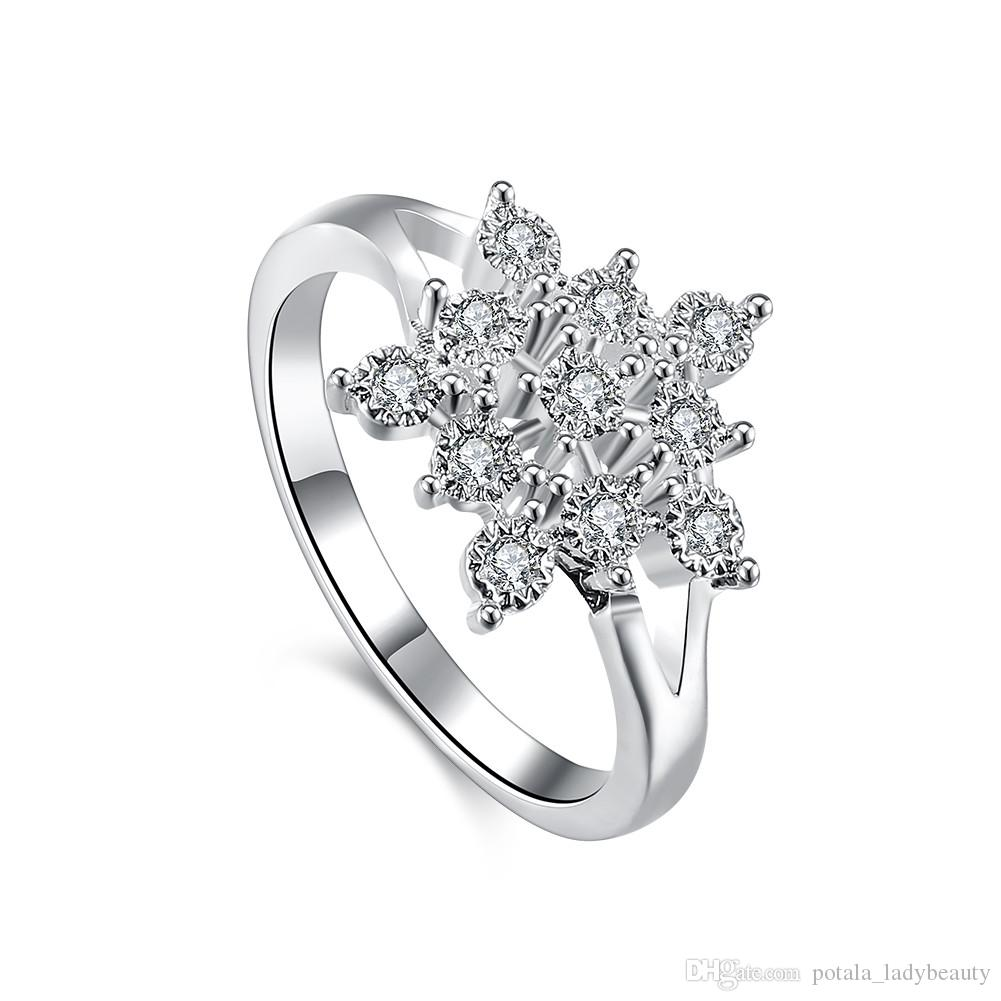 Silver Plated Rings Pure Flowers Pattern Mosaic Zircon Accessories Flat Ring Fashionable Elegant Jewelry For Ladies Wedding Gifts Potala853: Flower Pattern Wedding Ring At Reisefeber.org