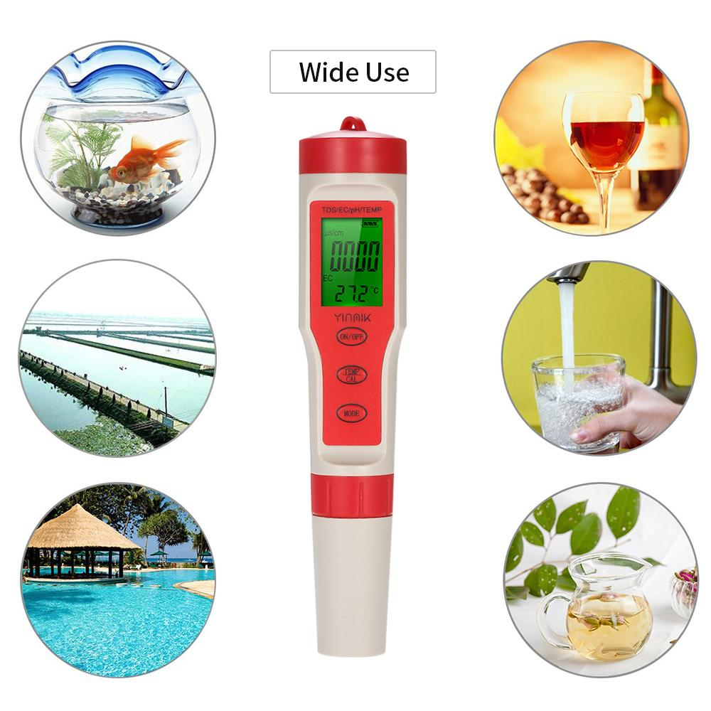 Probador de calidad de agua digital 4 en 1 Tipo de pluma Medidor de pH Acidímetro profesional pH / TDS / EC / TEMP Monitor de calidad de agua