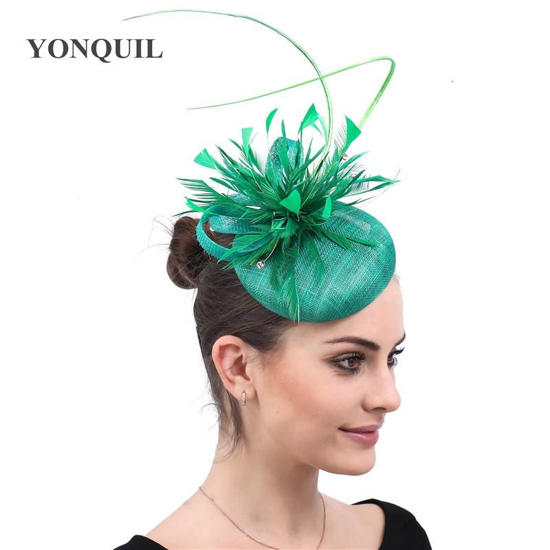 1d9f99469efa3 Womens Feathers Green Sinamay Hat Party Cap Fedoras Dress Fascinator Wedding  Headwear Occasion Ladies Femele Hair Accessories Picture Of Party Hats  Picture ...