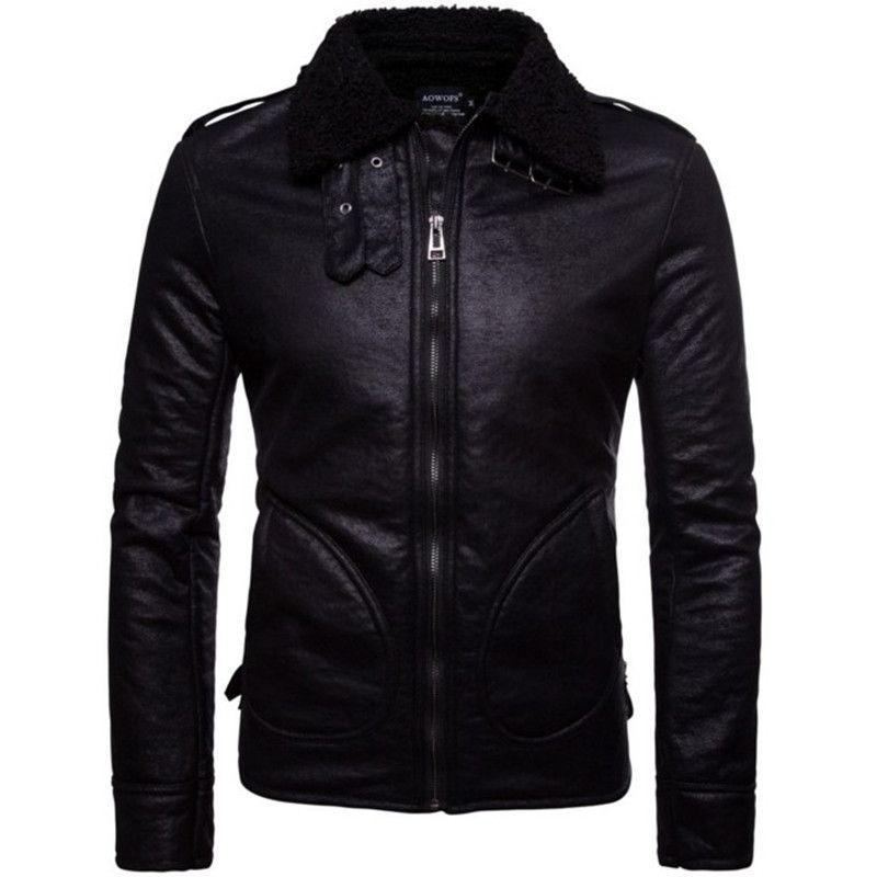 Men Leather Jacket Genuine Real Sheepskin Fur Collar Slim Fit Winter