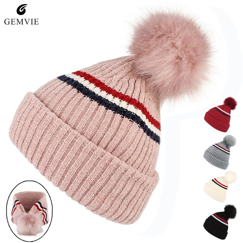 65cbfc204458d Women Caps Knit Hats Winter Warm Knitted Hat Cute Fur Ball Skuillies Beanies  Multi-function Scarf Hat Thicken Double-Layer Cap Skullies   Beanies Cheap  ...
