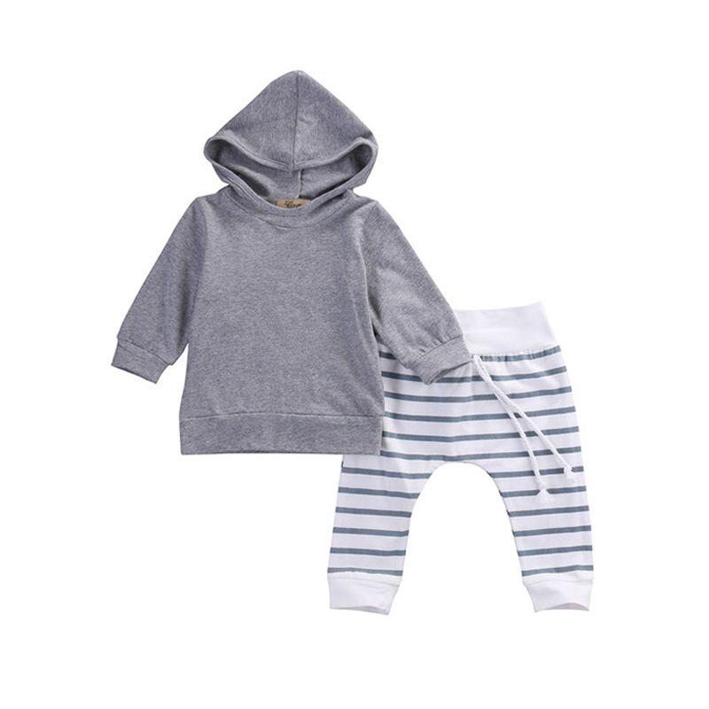 19b8ff21e Newborn Baby Boys Hooded Pullover Gray Shirt Tops Striped Pants 2 ...