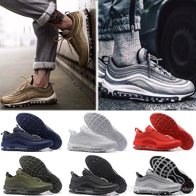 Nike air max 97 2019 QS Cushion Sneakers Sport Sport Shoes Triple Black Metallic Gold Blue Bullet Mustard Hombres Mujeres Sneakers 36 45