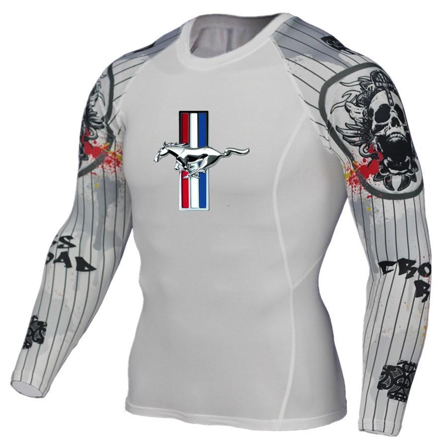Acheter Hommes T Shirt Compression Shirt Crossfit Tshirt Hommes 3D Imprimer  Manches Longues T Fitness Marque Vêtements MMA Ford Mustang Impression De   30.07 ... 0f8319998b5
