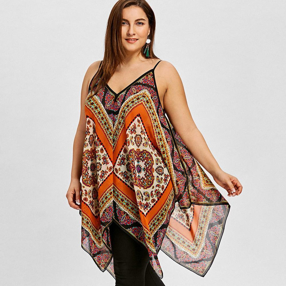 50b9f06ef9 2019 Gamiss Women Plus Size 5xl Exotic Print Handkerchief Tank Top Summer  Sleeveless V Neck Bohemia Casual Tunic Top Women Tank Tops Y19042801 From  ...