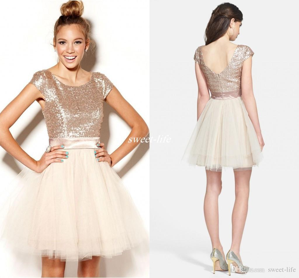 37e1758e19 Homecoming Dresses Short 2018 Rose Gold Sequins Tulle Sweet 16 Juniors Prom  Party Gowns Semi Formal With Sleeves Under Homecoming Dresses Cheap Little  Black ...