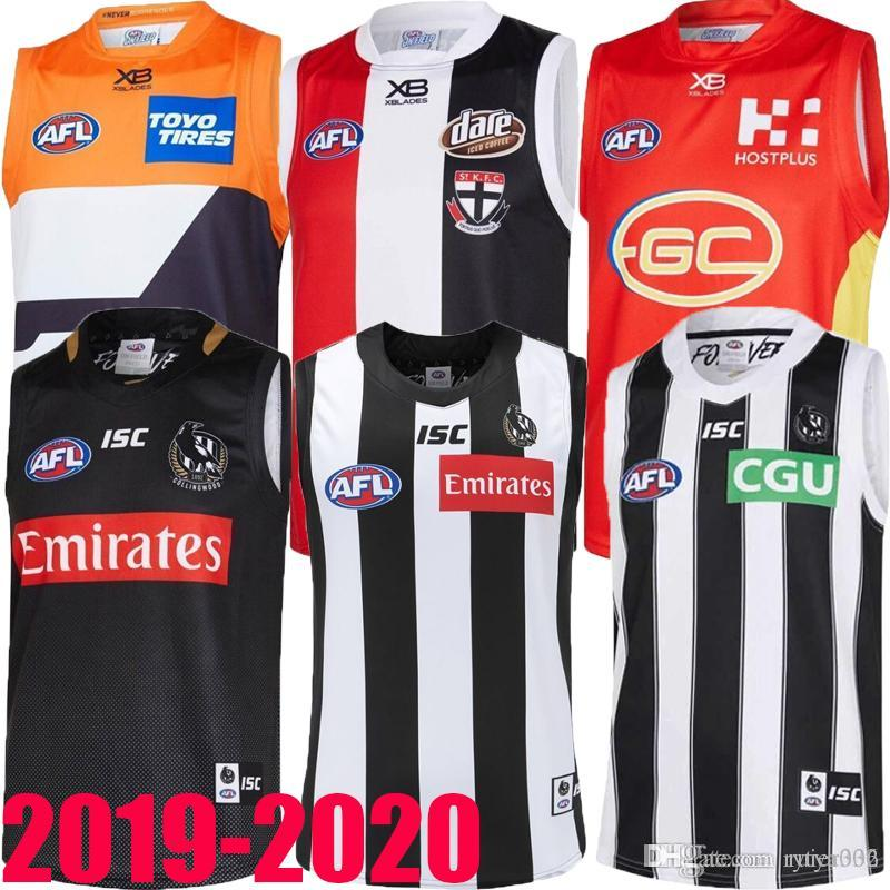 nouveau bien 2019 2020 West Coast Eagles Guernesey Adelaide Crows Collingwood Magpies accueil Eddie Betts 300e maillot AFL de qualité sans manches