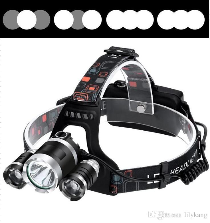 3 led T6 Headlamp 6000 Lumens Cree 2 XME 1T6 Head Lamp High Power LED Headlamps Head Torch Lamp Flashlight Head +charger+batteries
