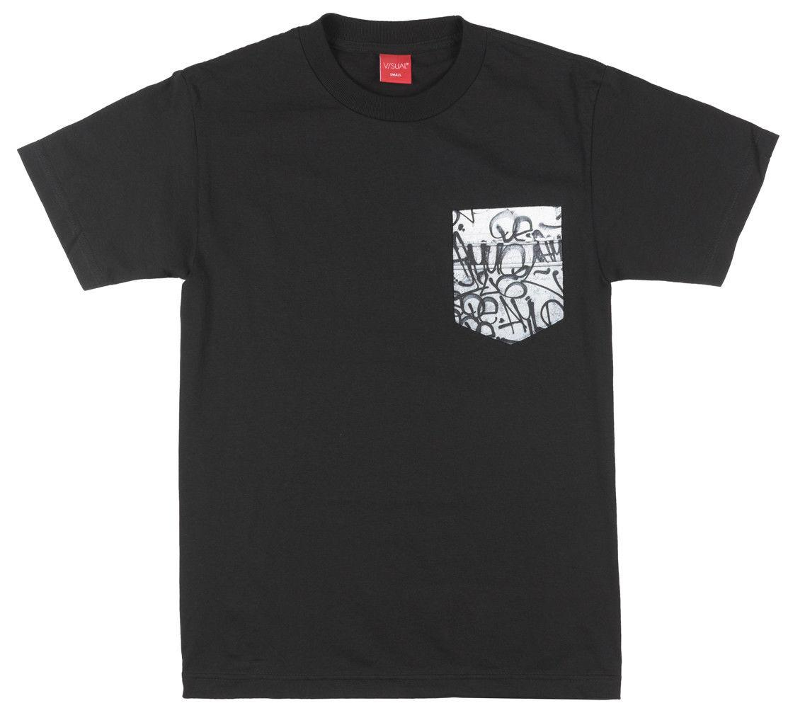V Sual Chalkboard Regular Fit Camiseta Visual Pocket Tee Top Skatewear Hombres Negro