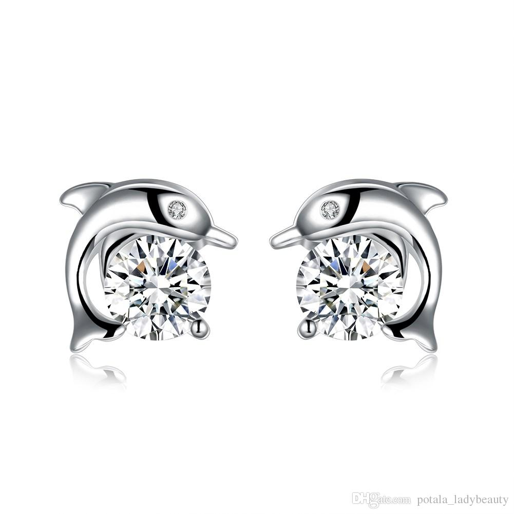 6d0431627462d Zircon Stud Earrings Dolphin Embrace Pattern S925 Silver Plated Accessories  Earring Lucky Cute Design Classic Valentine s Day Gift POTALA943