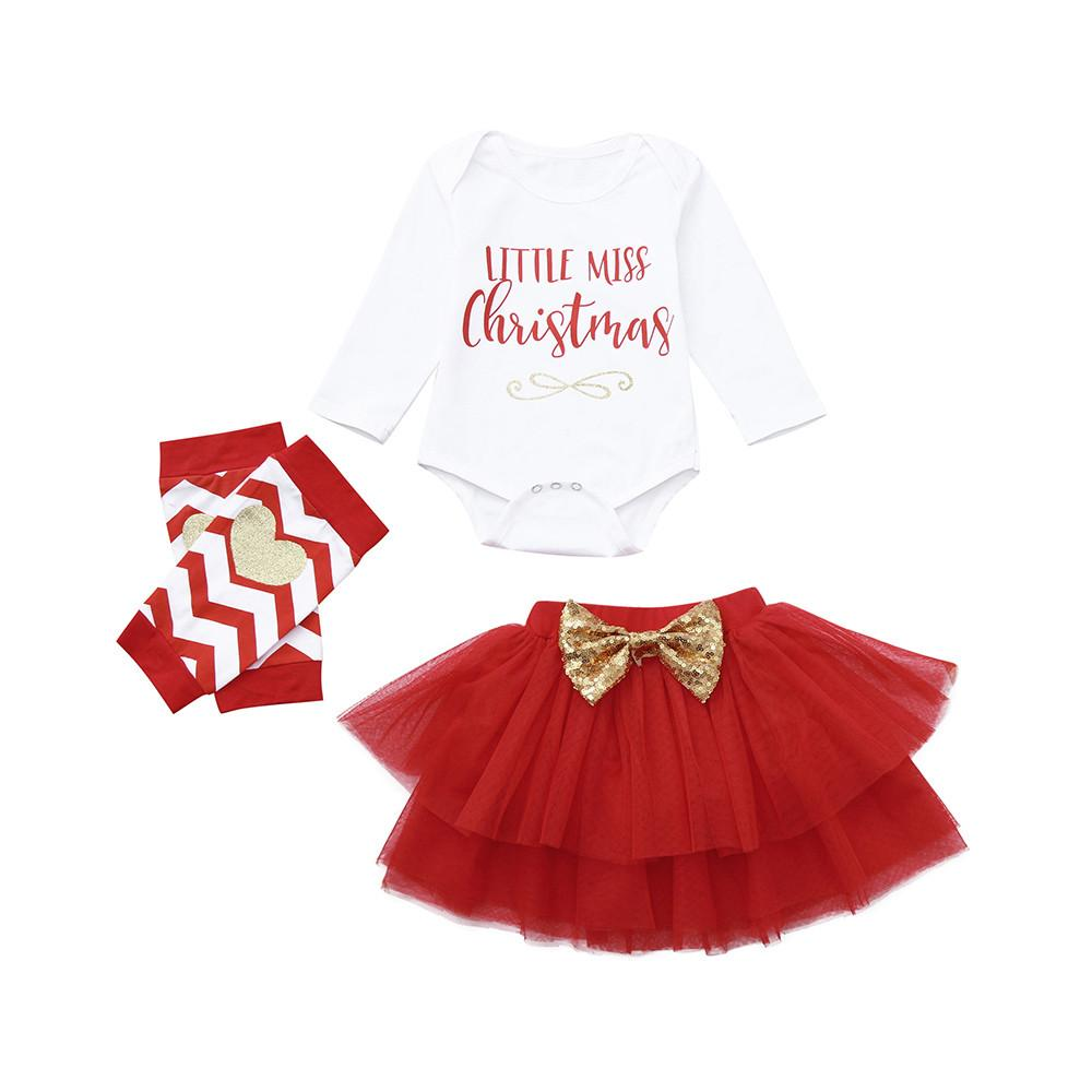 56704e1b17f12 2018 Christmas Newborn Infant Baby Girl Letter Romper Tops Tutu Skirts  Outfits Set Teenager Prom Designs Long Sleeve