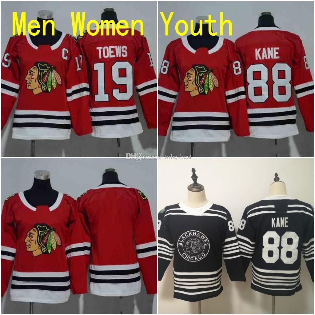 62c84ef126a 2019 Men Women Youth Chicago Blackhawks Jerseys 88 Patrick Kane 19 Jonathan  Toews Blank Home Red Kids Ice Hockey Jersey Ladies Boys Girls From Tobe  Best, ...