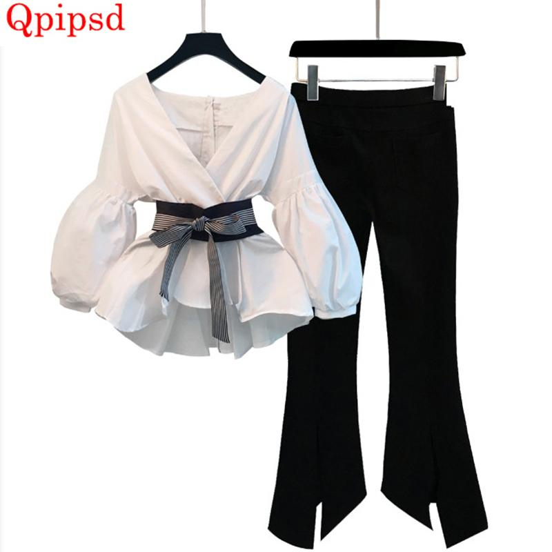 613fb3a7f3510 Spring Summer Temperament Slim Set 2018 Korean New 2 Piece Outfits For  Women Sexy V-neck Shirt pant Suit Womens Clothing C19041901