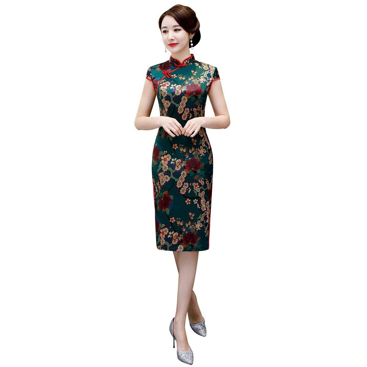 1e358d23966 Shanghai Story New Sale Faux Silk Short Sleeve Floral Qipao With ...