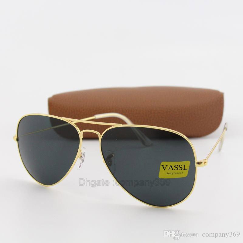 1164eed3d56 Brand Unisex Vassl Gold Metal Frame Pilot Sunglasses Black Lens Vintage  Eyewear Accessories Sun Glasses For Men Women 58mm Come Box Circle  Sunglasses Glass ...