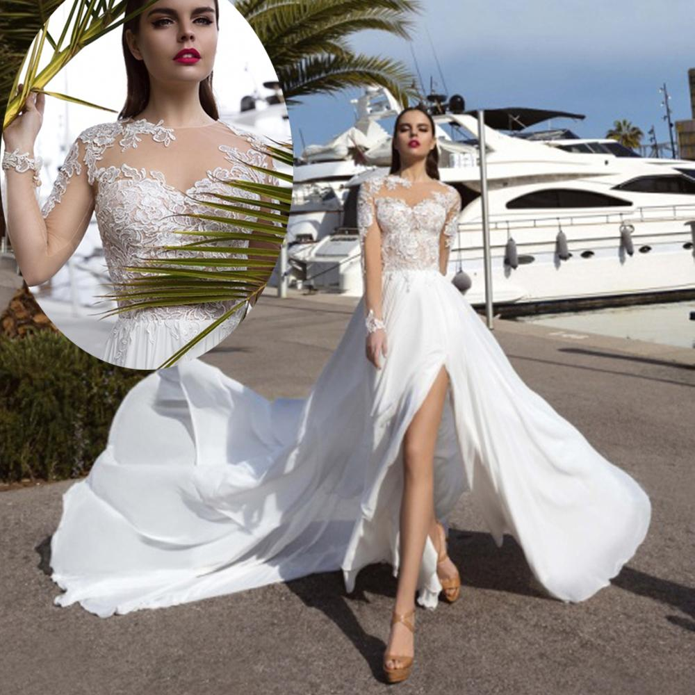 04d51a0cc1a Discount 2019 White Summer Country Beach Lace Wedding Dress Long Sleeve  Indian Bridal Gowns Boho Split Chiffon Long Train Simple Vintage Wedding  Dresses ...