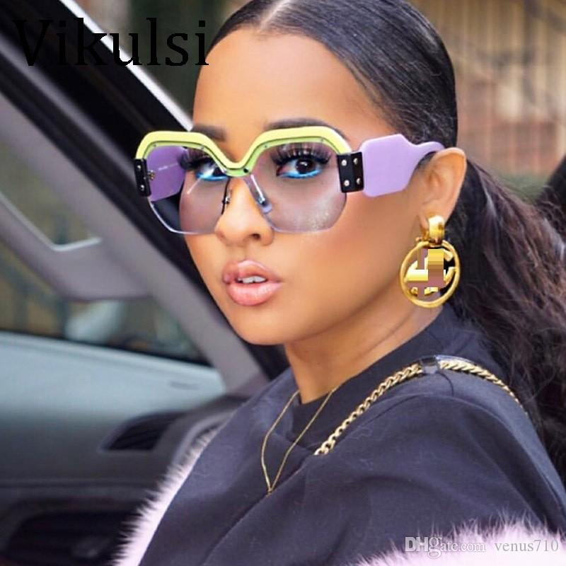 842003a81dfaf Sexy Rimless Oversized Sunglasses Women Vintage Red Pink Luxury Sun ...