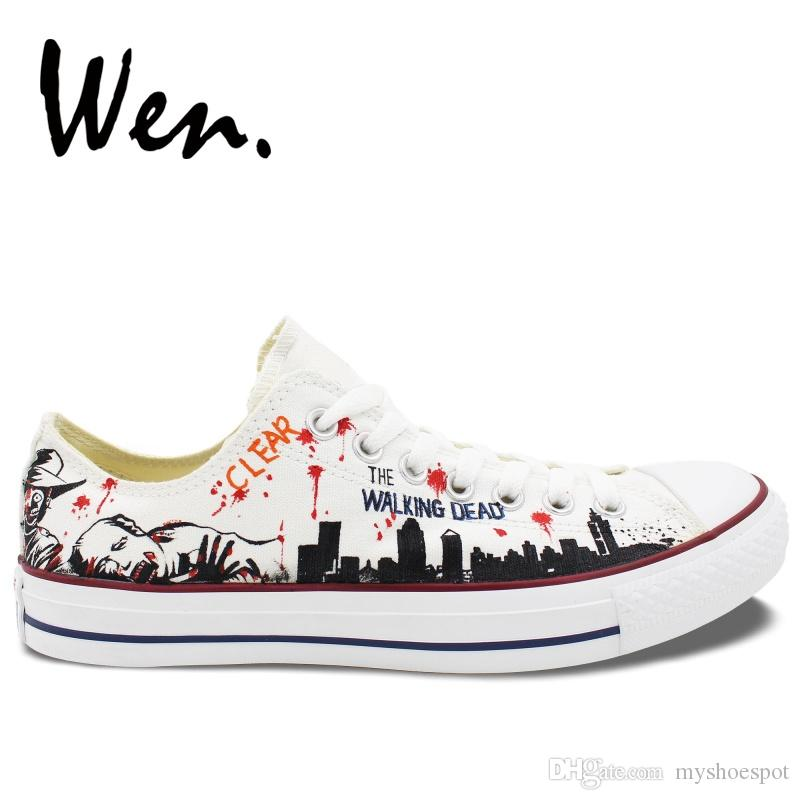 b8f5a5618801 Wen White Hand Painted Casual Shoes Custom Design The Walking Dead Women  Men S Low Top Sneakers Canvas Christmas Birthday Gifts  54972 Sperry Shoes  Silver ...