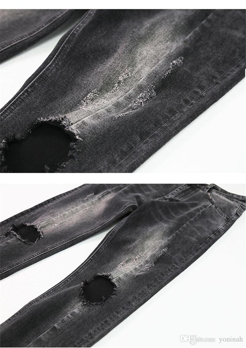 Wholesale New Men Hole Ripped Skinny Jeans Destroyed Jogger Slim Fit Casual Black Washed Denim Pencil Pant