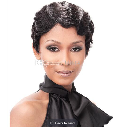 African American Short Finger Waves Hairstyles 100 Human Hair Wig