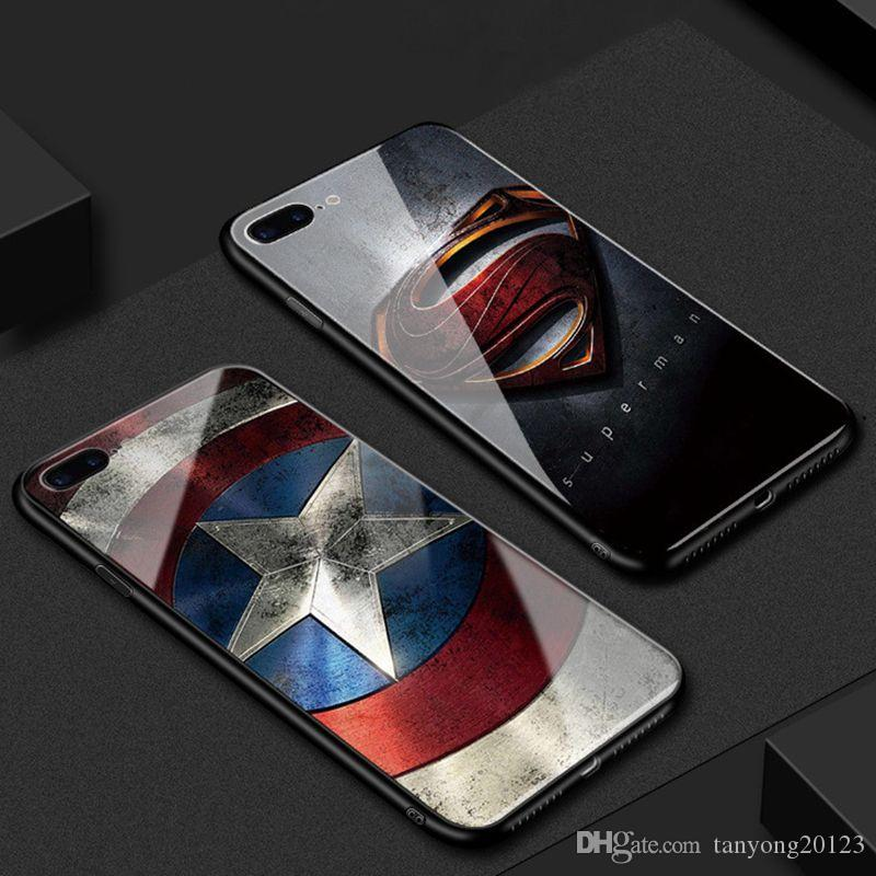 for iPhone 6 6S 7 8 Plus Marvel Superman Iron Man Phone Case Tempered Glass Cover for Huawei p20 PRO