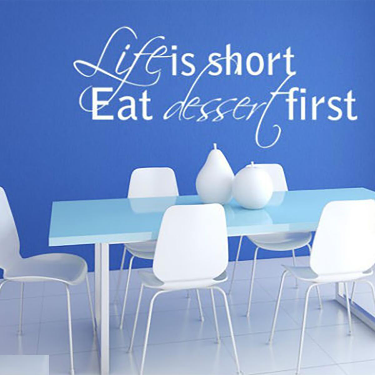 Life Is Short Eat Dessert First Kitchen Funny Home Wall Quote Vinyl Art Decor Sticker Decal Stencil
