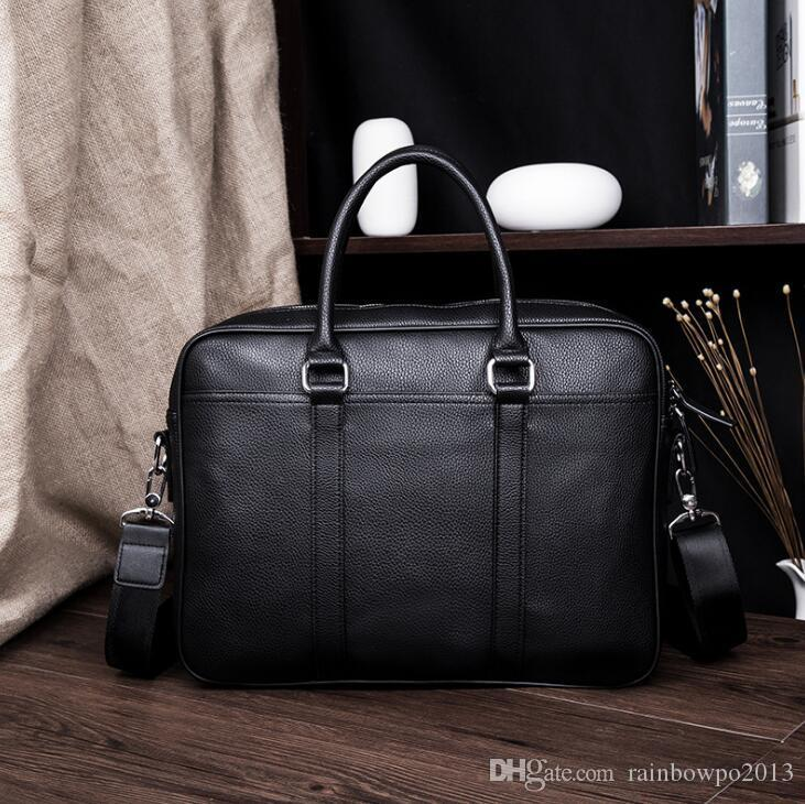 afbc16b8fb55 Wholesale Brand Men Handbag Simple Joker Leather Business Briefcase ...