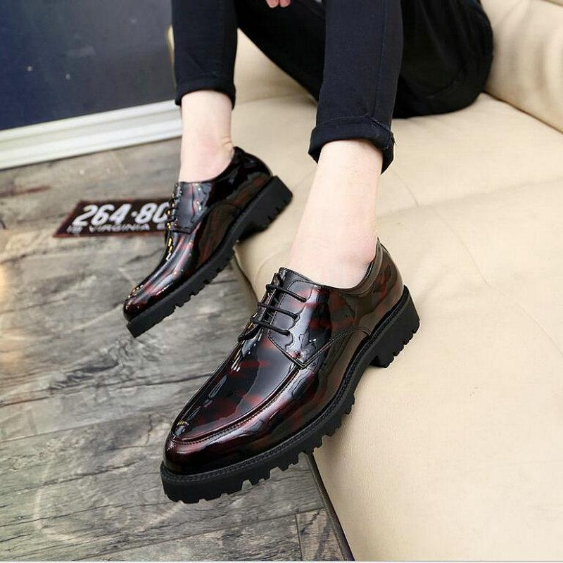 New 2019  Leather Brogue Mens Flats Shoes Casual British Style Wedding Oxfords Fashion  Dress Shoes For Men LH-76