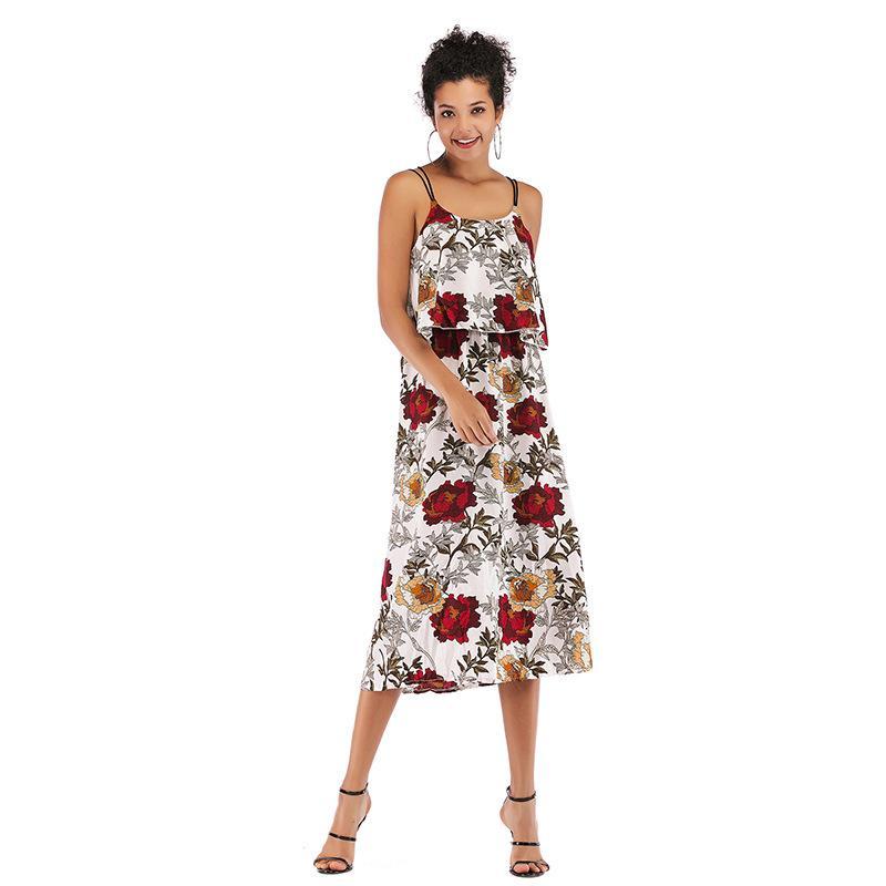 3832666c317f4 Robes pour femme d été 2019 Slim, Dos nu, Jupe en mousseline de soie  imprimée à imprimé frais