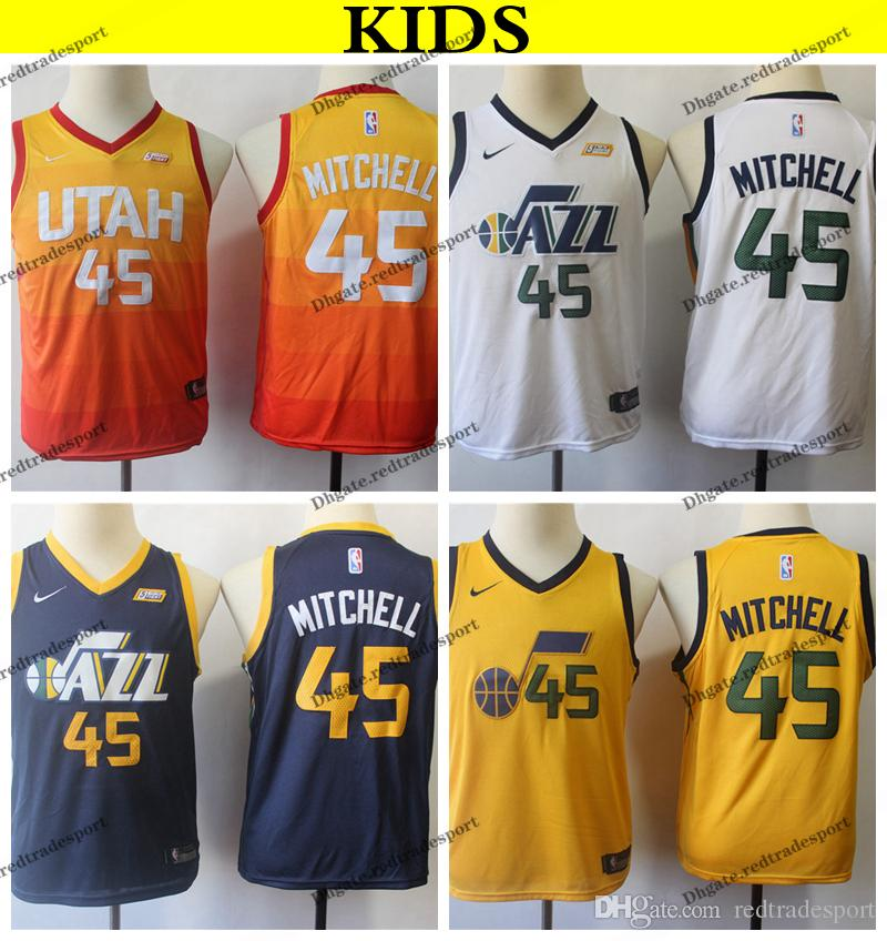 d0c5bc899f9d 2019 2019 Kids Utah  45 Jazzes Donovan Mitchell Basketball Jerseys Youth  Donovan Mitchell City Yellow Stitched Shirts S XL From Redtradesport