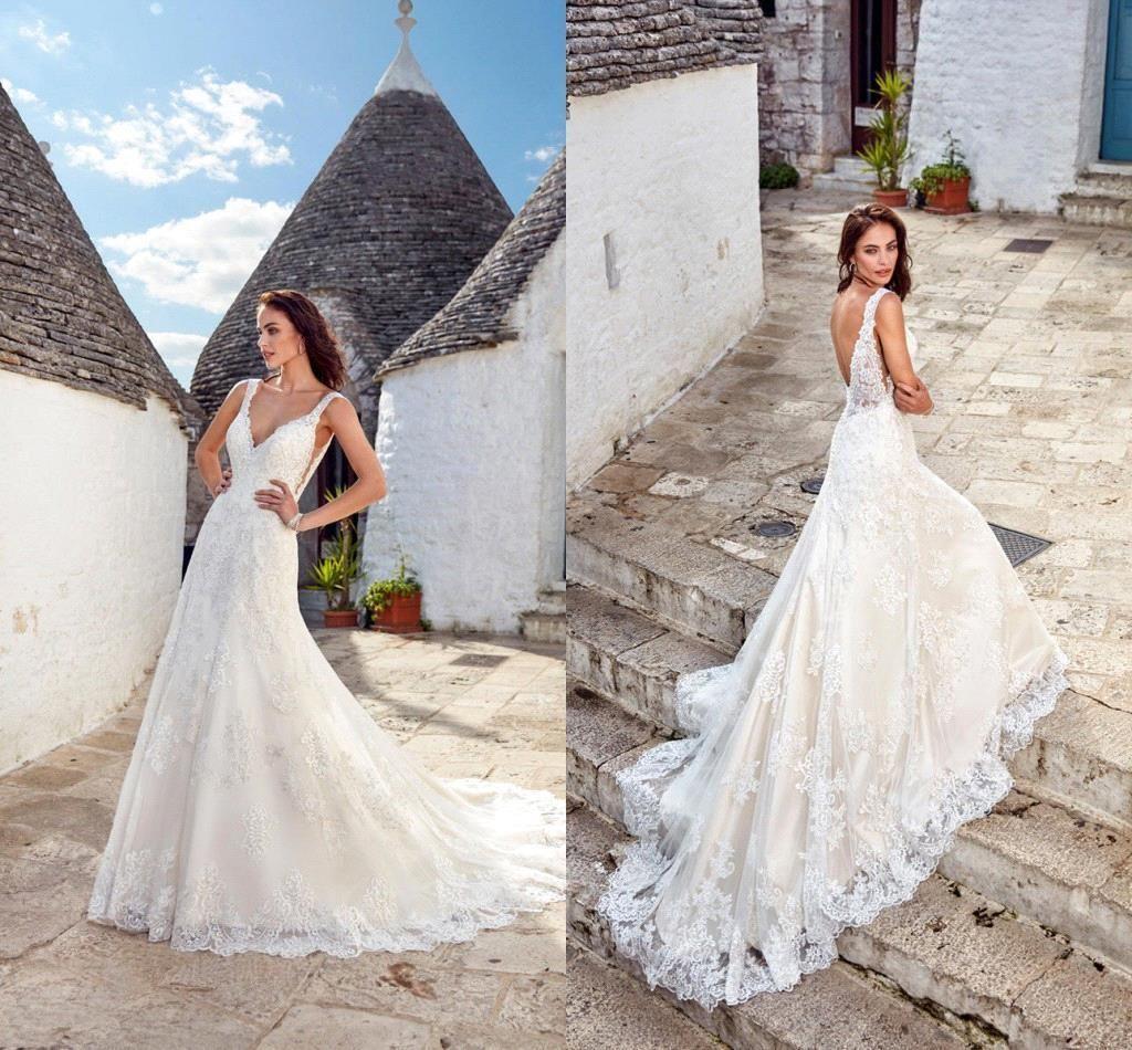 5fca02c5672 Elegant V Neck Lace A Line Wedding Dresses 2019 Tulle Lace Applique  Backless Summer Cheap Beach Wedding Bridal Gowns Plus Size Bridal Gowns  2015 Bridal ...