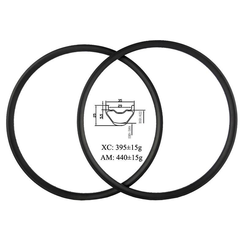 Carbon Mountain Bike Rim 29ER 35mm Width 25mm Depth 28//32Hole Tubeless UD 1pc