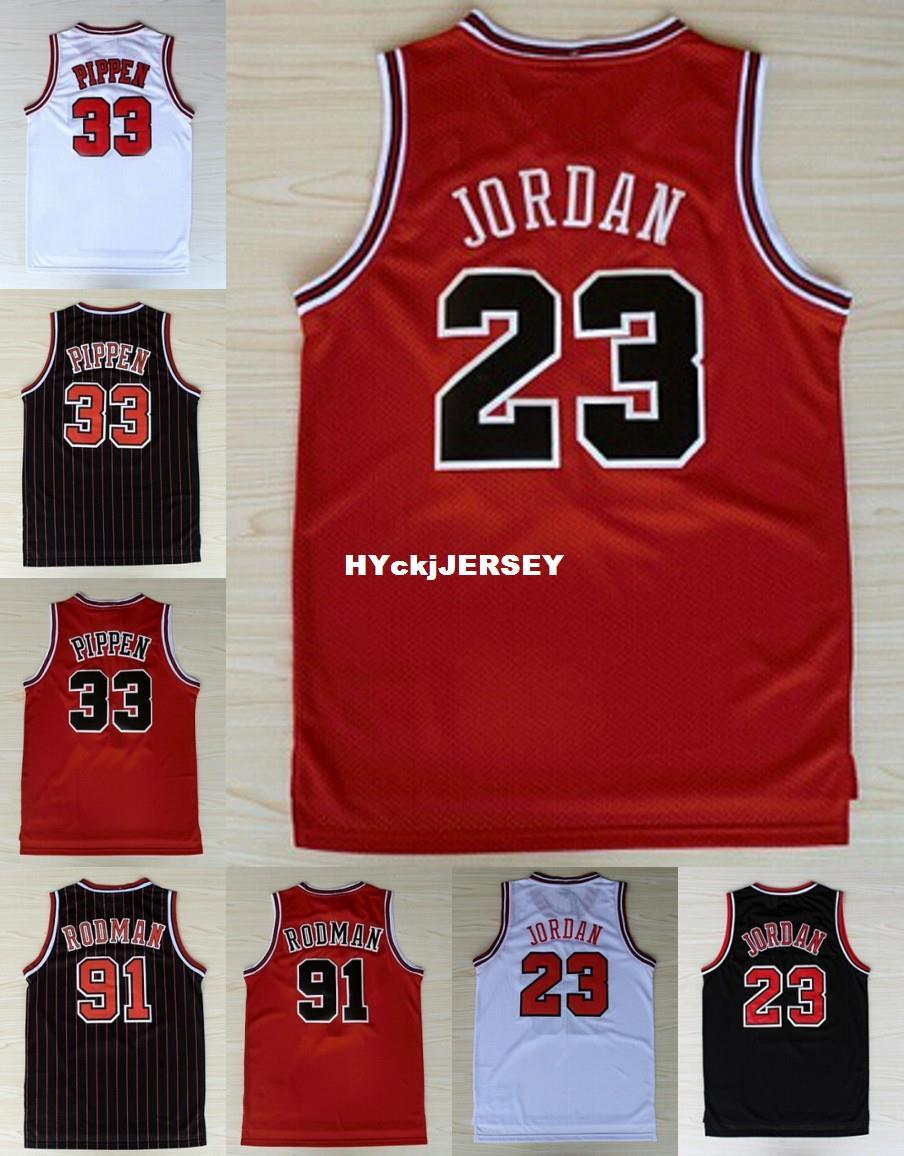 detailed look fb404 47a0e Cheap #33 Scottie Pippen jersey 91 Dennis Rodman Red Black White Retro  Basketball Jersey Embroidery Logos Ncaa College