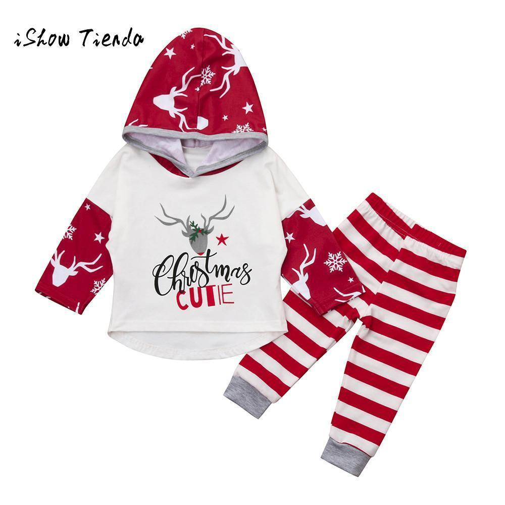 61058db21 baby christmas clothing set Newborn Infant Girls Boys Christmas Deer Letter  Tops+ Pants Outfits Clothes Sets Y190515